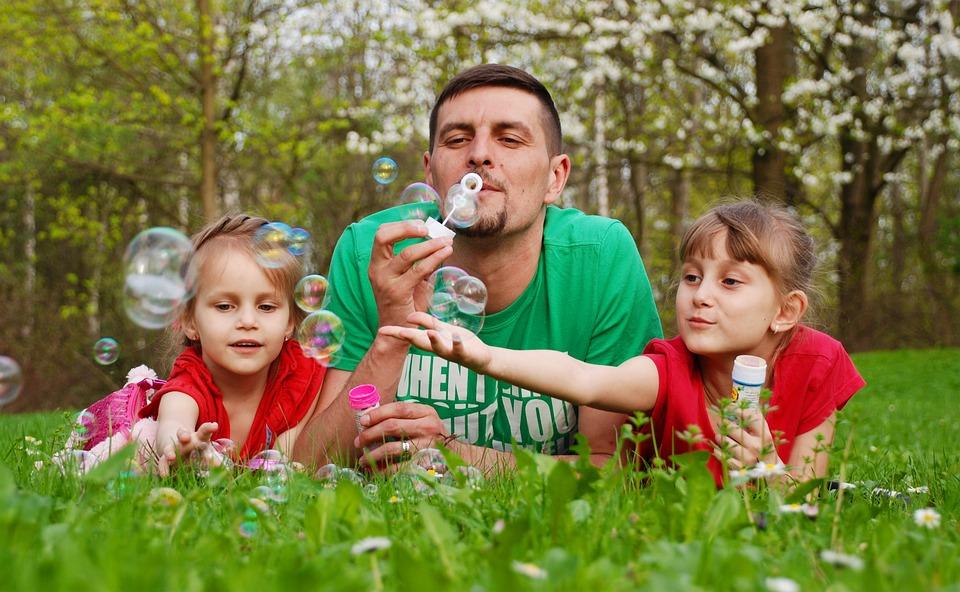 Baby, Family, Fun, Soap Bubbles, Grass, Summer, Dad