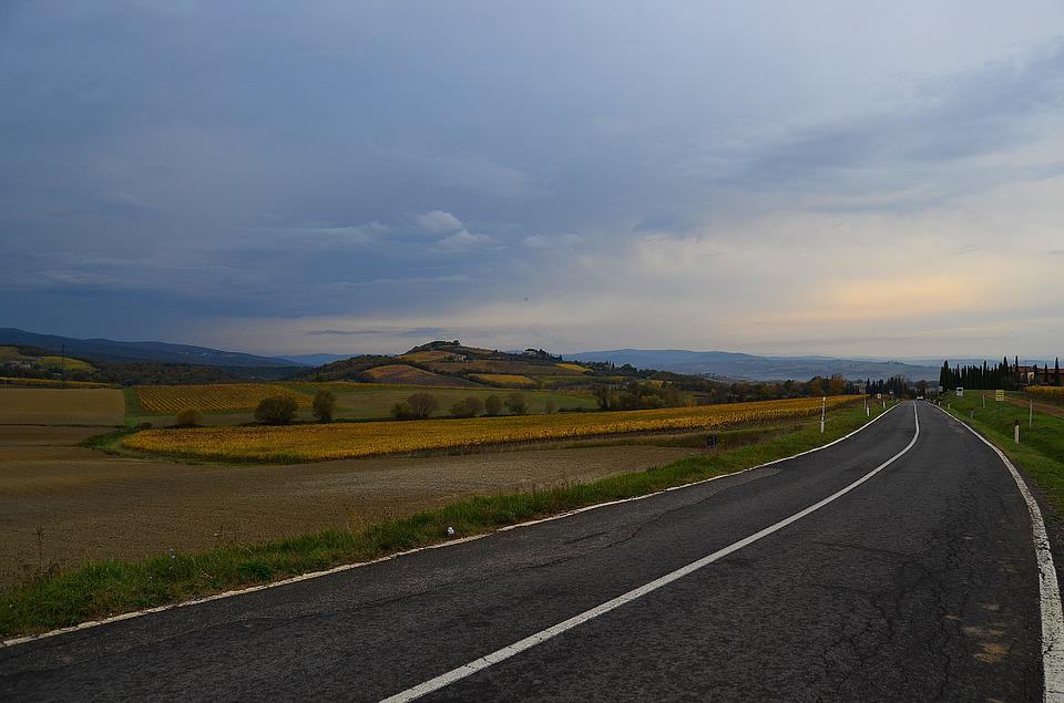 Road, Far Away, Dahl, Hills, Autumn, Beauty, Void, Sky