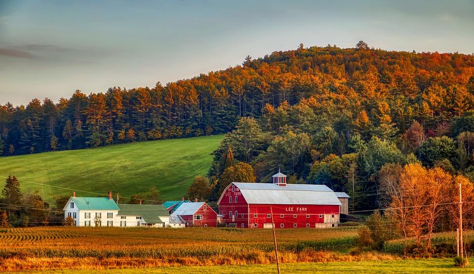 New Hampshire, New England, America, Farm, Dairy, Barn