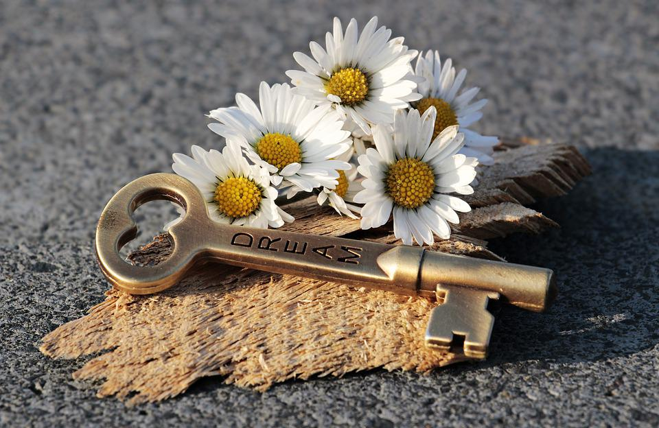 Key, Heart, Daisy, Love, Wood, Valentine's Day