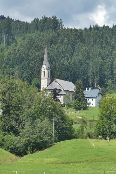 Gosau, Church, Dal, Mountains, Landscape, Panoramic