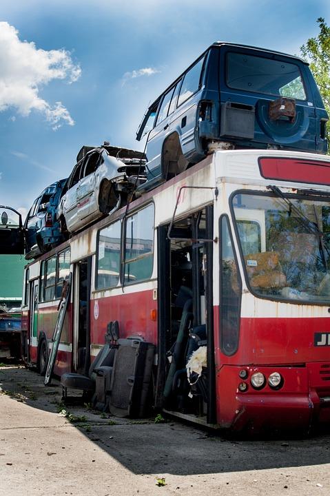 Junkyard, Collision, Bus, Wreck, Damaged Vehicles