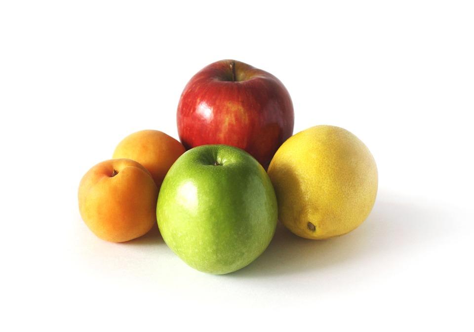 Fruit, Apple Pear, Lemon, Damascus, Colors, Red, Green