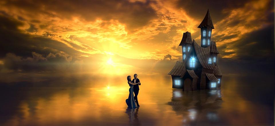 Fantasy, Lake, House, Dance, Water, Sun, Mirroring