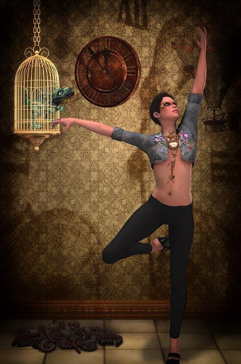 Woman, Dance, Dancing, Steampunk, Fantasy, Cage