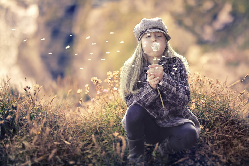 Kid, Dandelion, Blow, Blowing, Girl, Cute, Wind