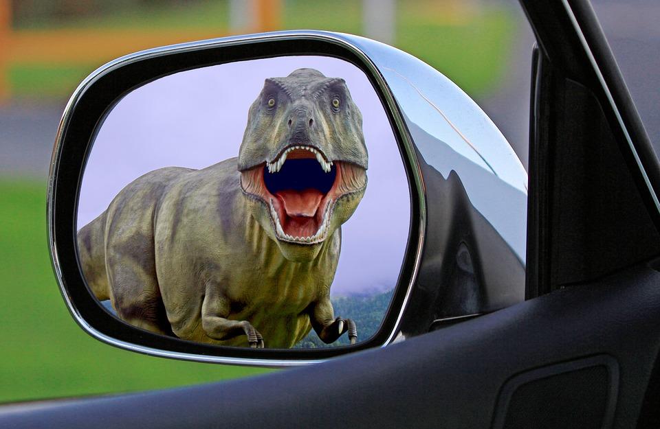 Dinosaur, Mirror, Wing Mirror, Behind, Chase, Danger