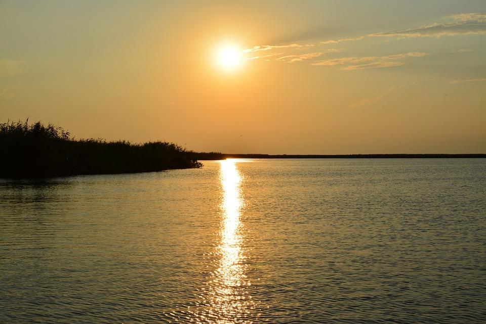 Sunset, Delta, Danube, Beauty, Sun