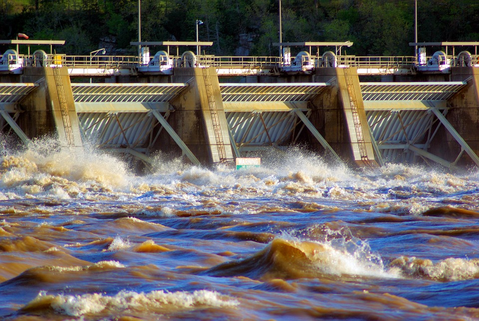 Dardanelle Dam During Flood, Flooding, Arkansas, River
