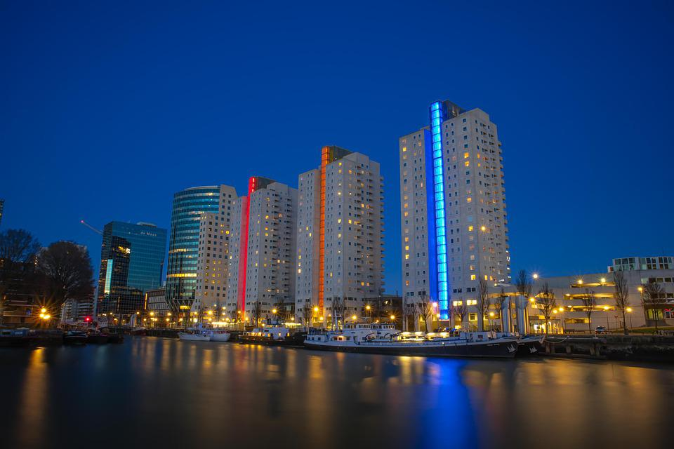 About, Rotterdam, Netherlands, The Blue Hour, Dark