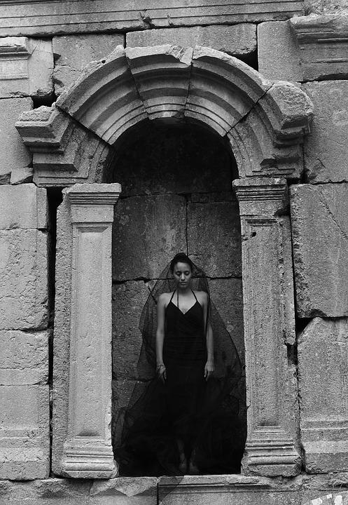 Woman, Fashion, Dark, Black And White, Date, Wall, Old