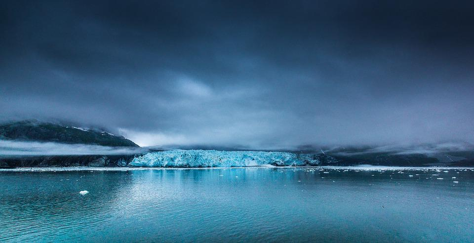 Canada, Glacier Bay, Glacier, Dark Clouds, Fog