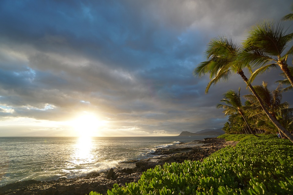 Sunset, Oahu, Usa, America, Beach, Clouds, Dark, Blue