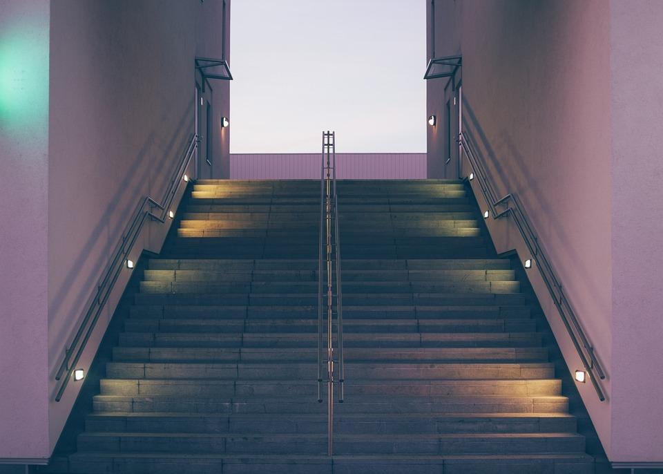 Stairs, Steps, Symmetry, Dark, Dusk, Lights, Rails