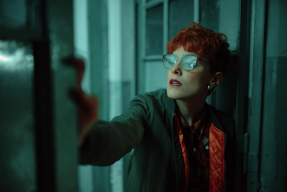 Dark, Fear, Terror, Factory, Red, Woman, Glasses