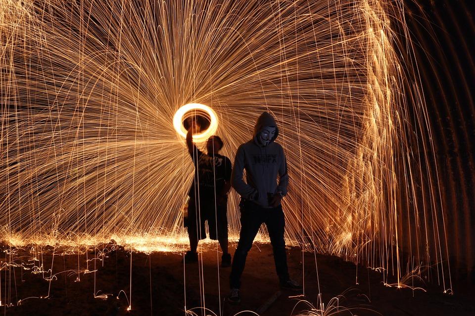 Steelwool, Firespin, Art, People, Dark, Night, Style