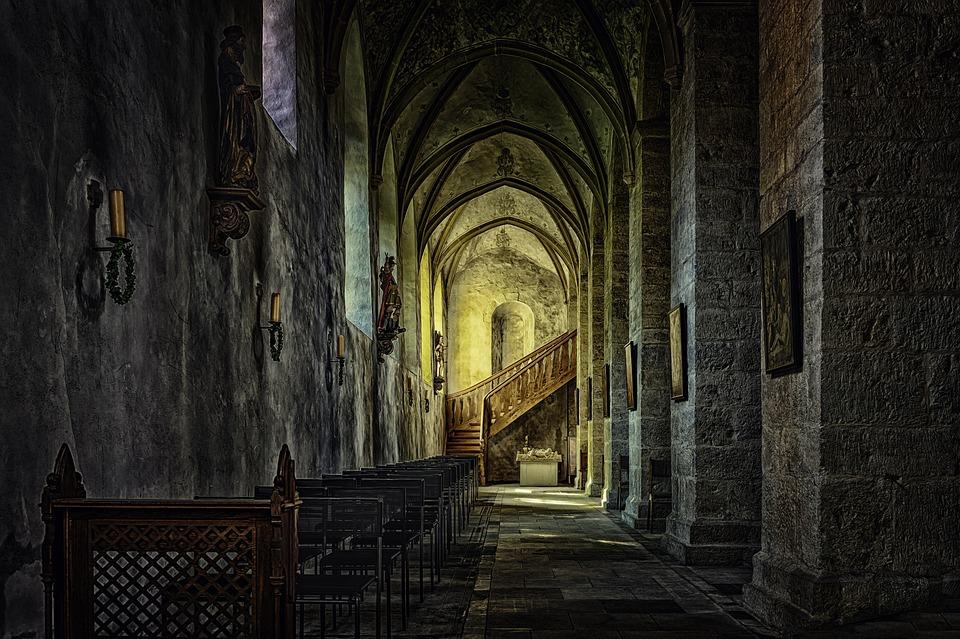 Monastery, Abbey, Cloister, Church, Gang, Dark