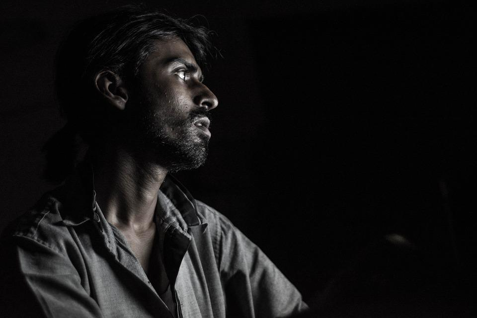 Portrait, Dark Light, Man, Face, Dark, Human, Desperate