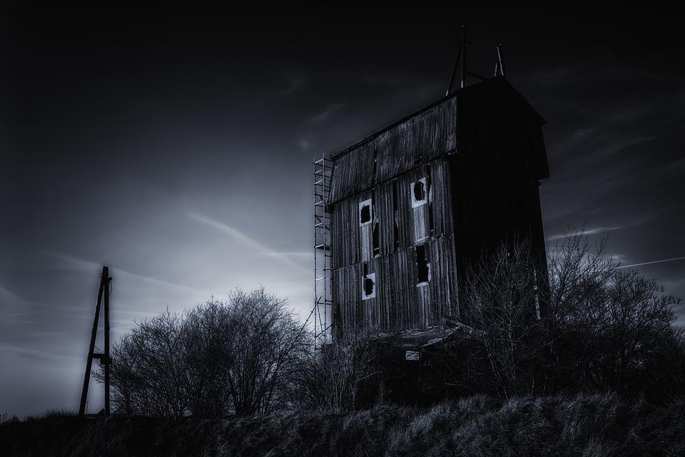 House, Mill, Night, Old, Dark, Weird, Fantasy
