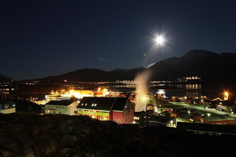 Night, View, Nuuk, Urban, Dark, Cityscape, Evening