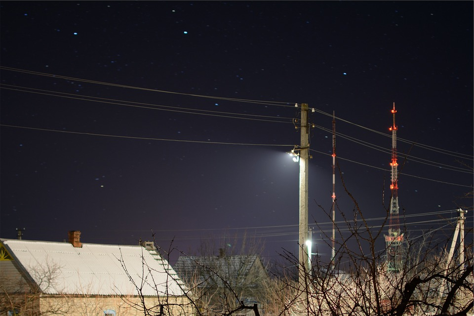 Stars, Sky, Night, Dark, Power Lines, Radio Tower, Roof