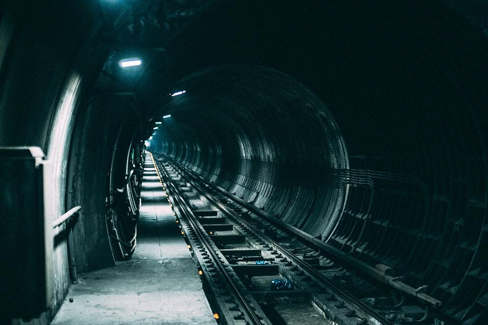 Dark, Lights, Railroad, Railway, Tunnel