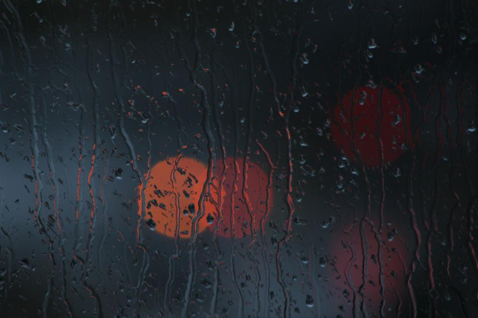Rain, Window, Bokeh, Glass, Dark