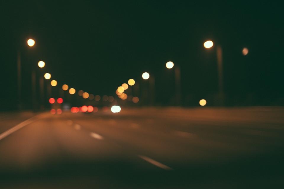 Road, Highway, Night, Dark, Evening, Lights, Blurry