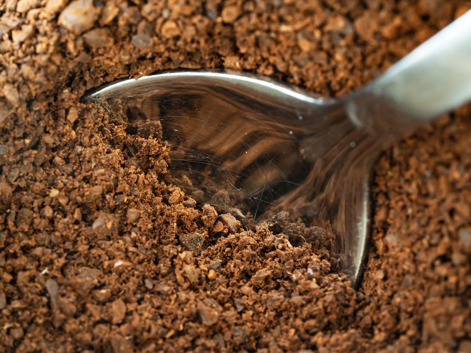 Coffee, Ground, Grains, Roasted, Brown, Dark, Food