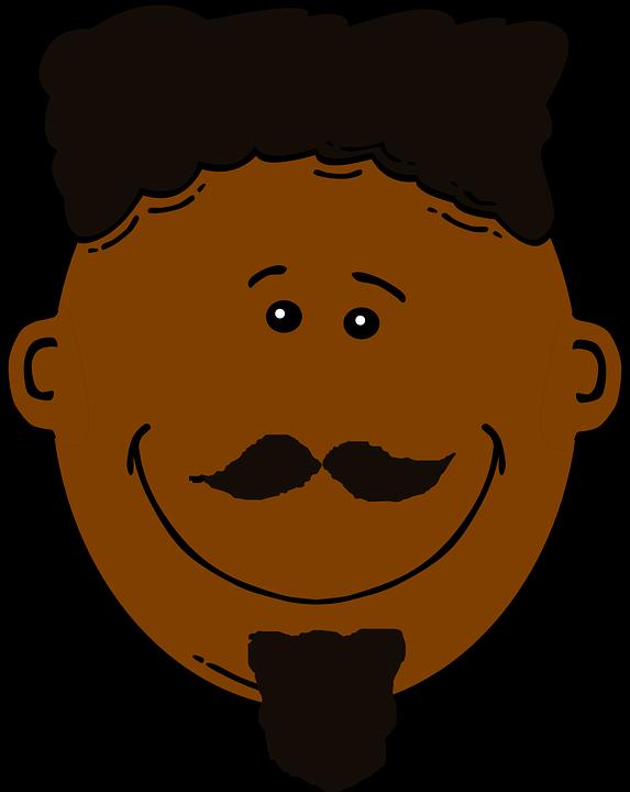 Man, Dark Skin, Black Hair, Happy, Mustache, Beard