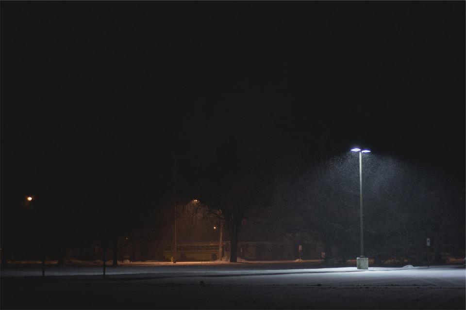 Free Photo Dark Snow Light Parking Lot Night Lamp Post