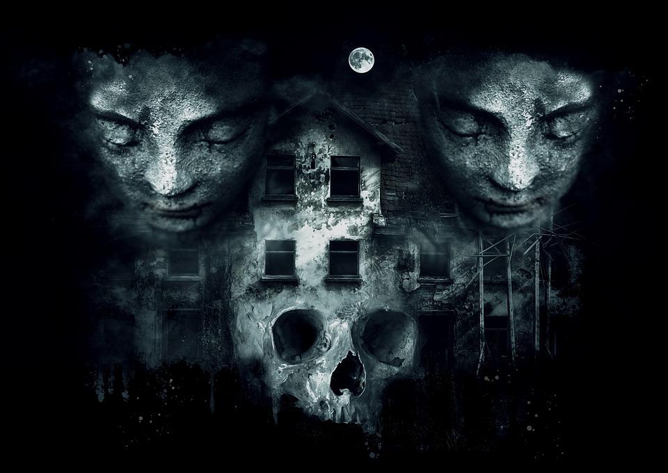 Fantasy, Dark, Gothic, Horror, House Skull, Statues