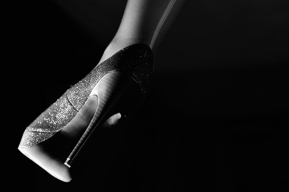 Heel, Foot, Stocking, Dark, Nero, Contrast, Shoe