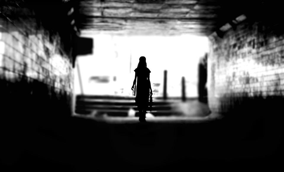 Dark, Person, Silhouette, Tunnel, Woman