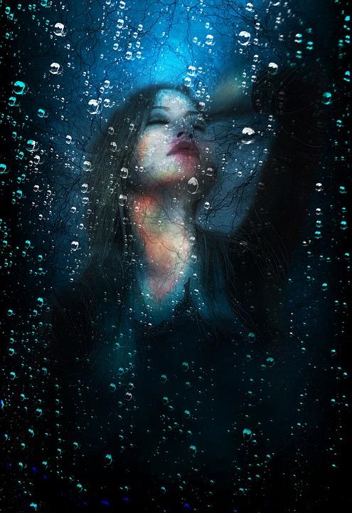 People, Woman, Dark, Underwater, Underground