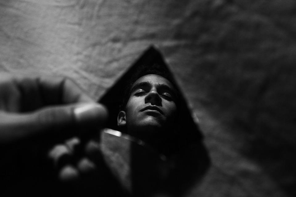 Mirror, Man, Darkness, Light, Look, Meditation, Sadness