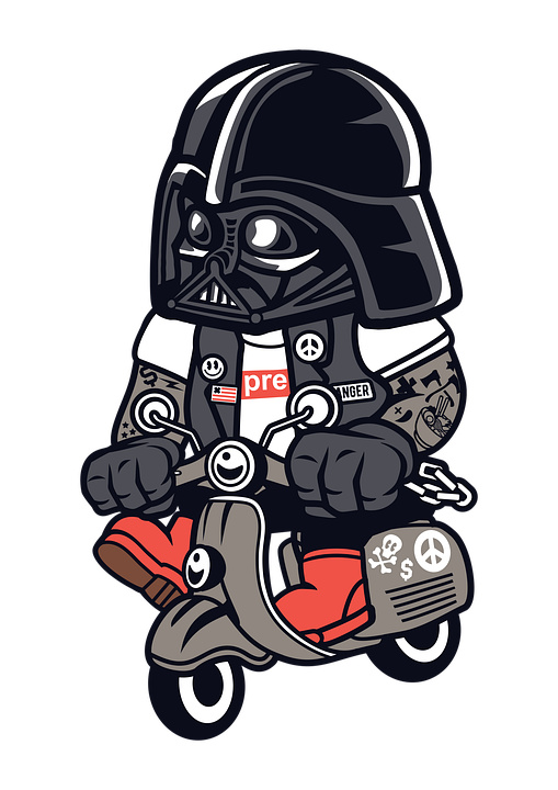 Darth Vader, Scooter, Cartoon, Character, Star Wars