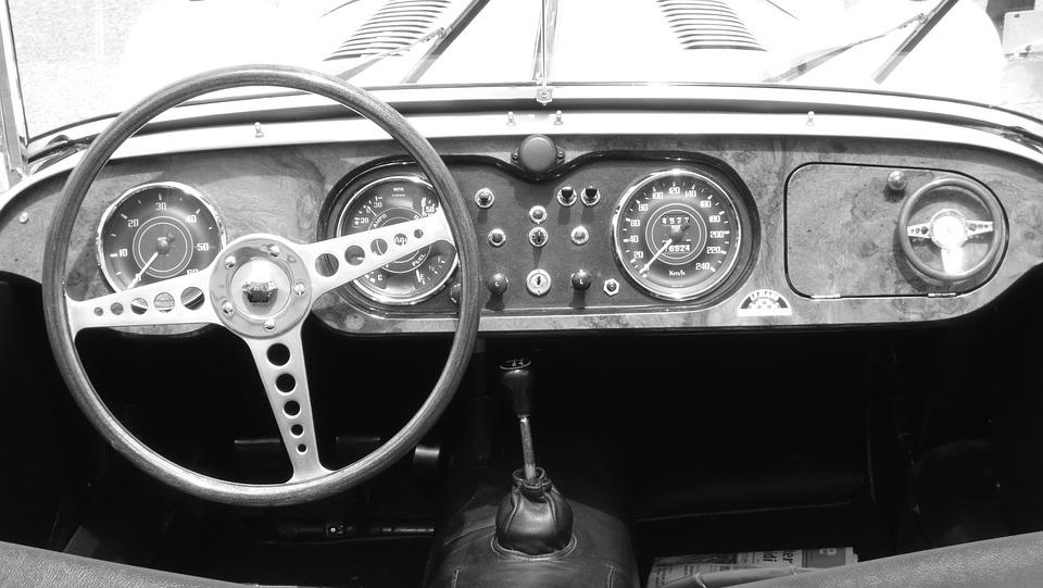 Car, Black And White, Dashboard