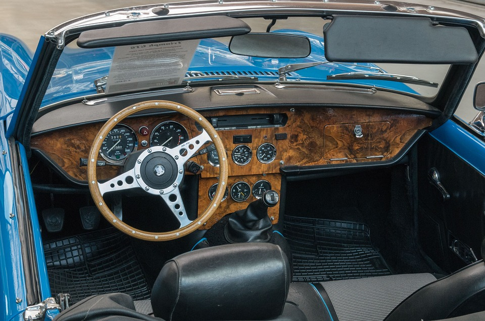 Auto, Triumph, Oldtimer, Dashboard, Wood Steering Wheel