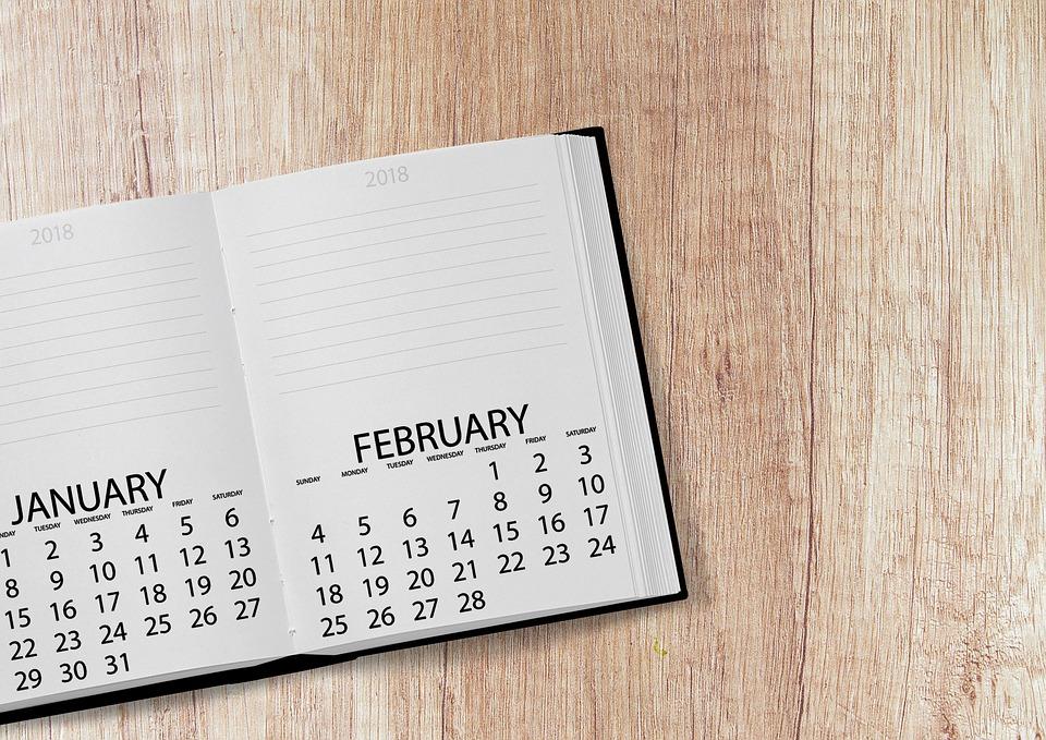 Calendar, Book, 2018, Date, Year, Day, Week