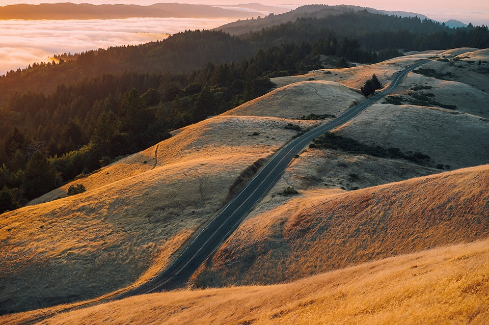 Dawn, Dusk, Hill, Landscape, Mountain, Outdoors, Road