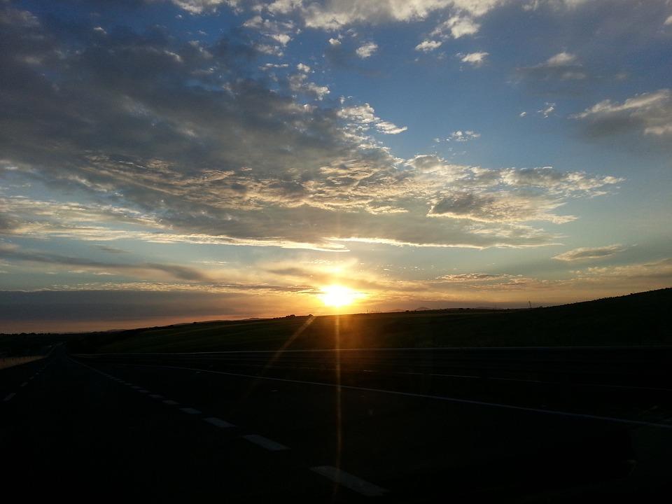 Dawn, Sun, Sky, Landscape, Horizon, Clouds