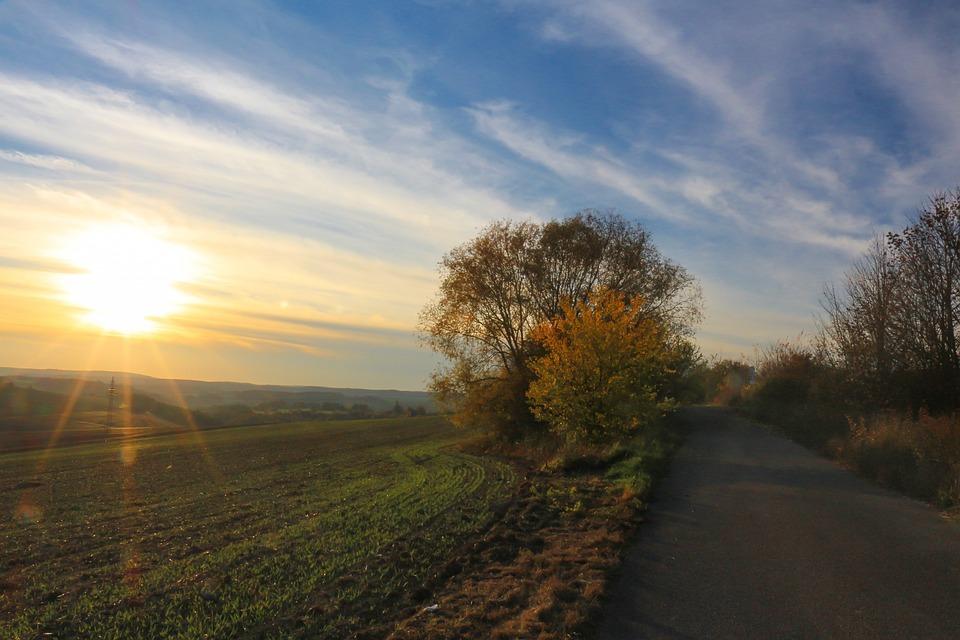 Landscape, Nature, Sunset, Dawn, Sky, Autumn, Leaves