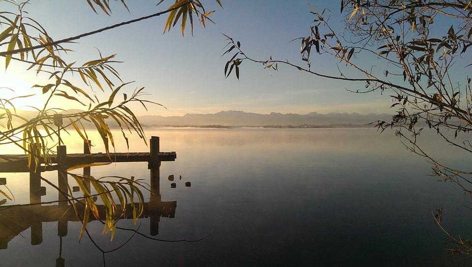 Dawn, Lake, Nature, Mood