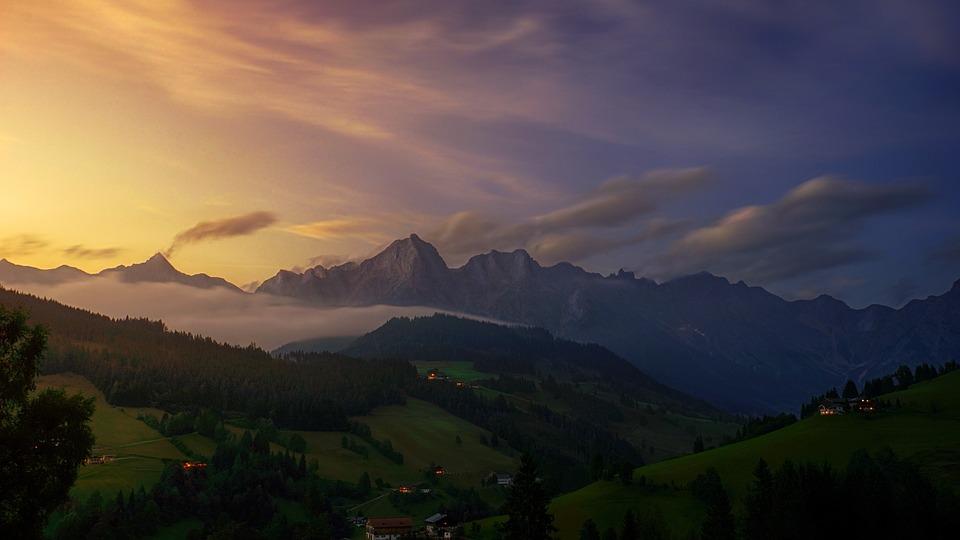 Panorama, Mountain, Nature, Sky, Travel, Sunset, Dawn