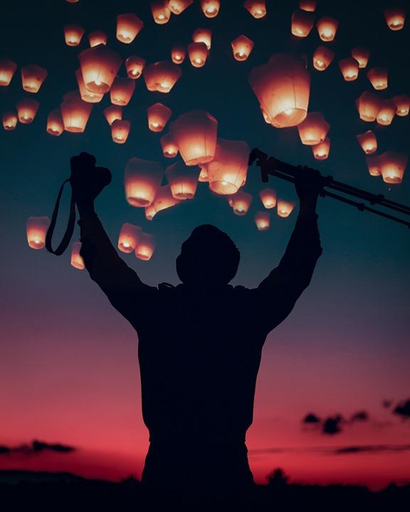 Dawn, Night, People, Camera, Lamps, Sky, Nightlife