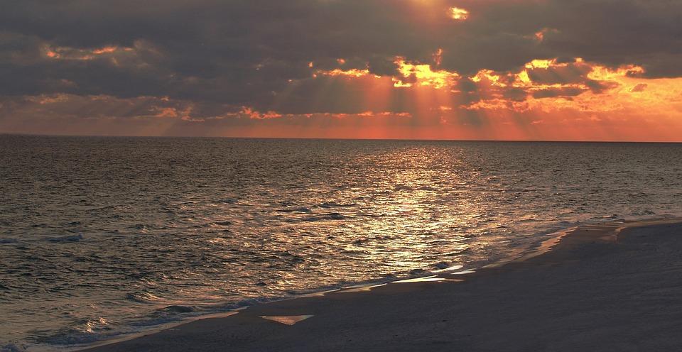 Water, Sunset, Sea, Nature, Dawn, Sun, Panoramic, Beach