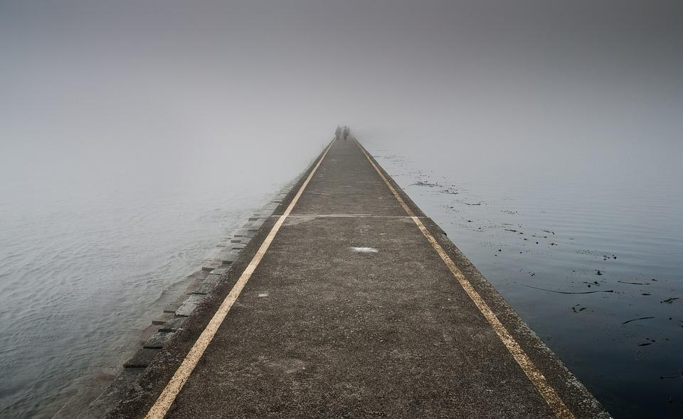 Jetty, Fog, Pier, Dawn, Lake, Light, Ocean, Pavement
