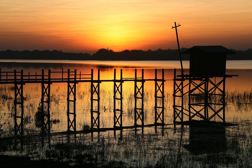 Web, Dawn, Hut, Sunlight, Lake, Waters, Sunrise, Mood