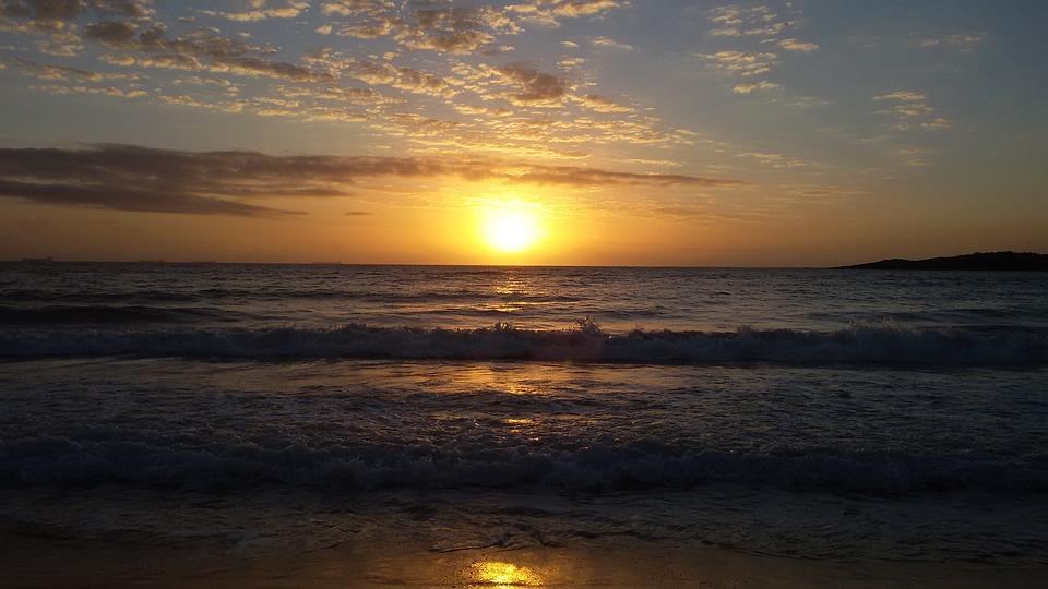 Dawn, Sol, Beach, Sunrise, Beira Mar, Landscape